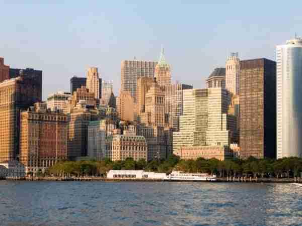 Vista di Battery Park e Lower Manhattan