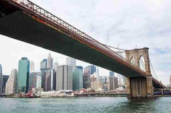 Ponte di Brooklyn visto dal basso
