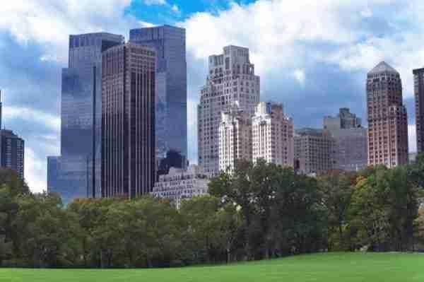 Vista dei grattacieli di Manhattan da Central Park