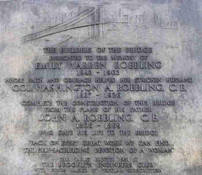 La targa in onore di Emily Roebling