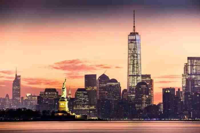 Statua della Libertà e Lower Manhattan