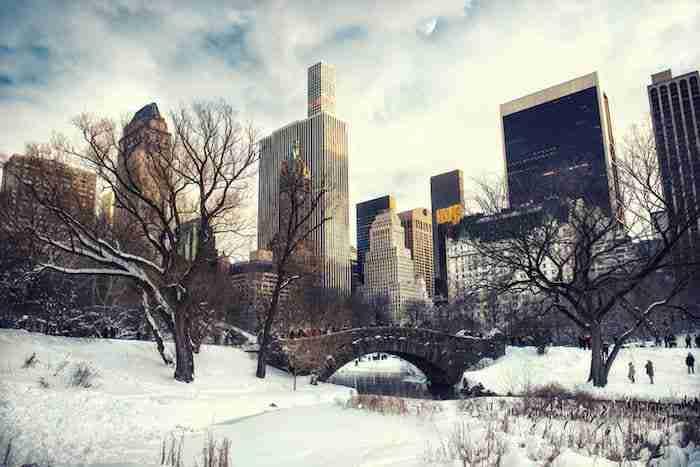 central park con la neve