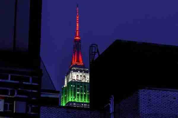 L'Empire State Building con i colori della bandiera italiana