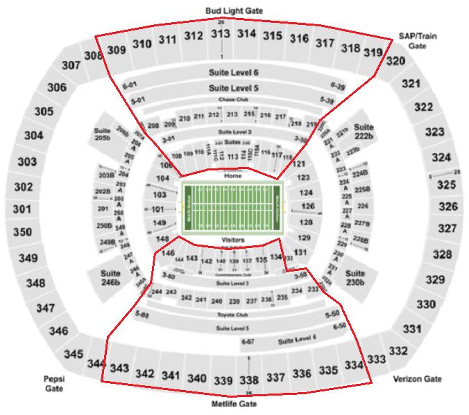 Mappa del MetLife Stadium