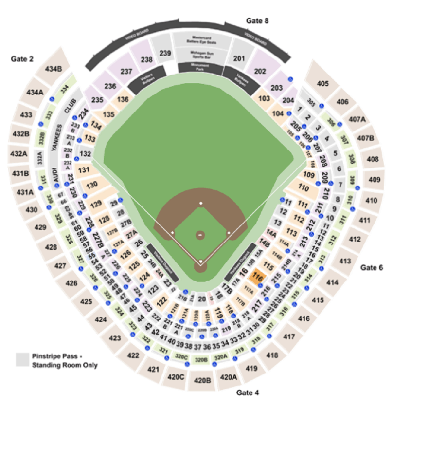 Mappa dello Yankee Stadium