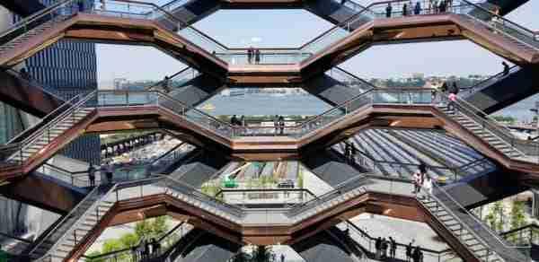 La vista da The Vessel en Hudson Yards, Nueva York